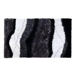 Dywan shaggy ECUME - poliestrowy, tuftowany ręcznie - Biało-czarny - 160 * 230 cm