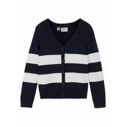 Sweter dziewczęcy rozpinany biały bonprix ciemnoniebiesko-biały