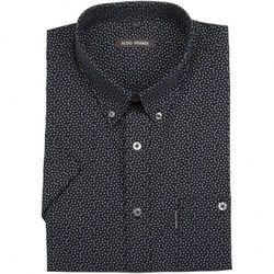 Granatowa koszula męska Aldo Vrandi z drobnym nadrukiem - krótki rękaw