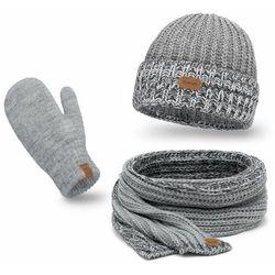 Komplet PaMaMi, czapka, szalik, rękawiczki - Jasnoszary
