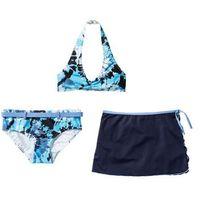 Stroje kąpielowe dla dzieci, Bikini+spódniczka dziewczęce (3 cz.) bonprix niebiesko-biały batikowy