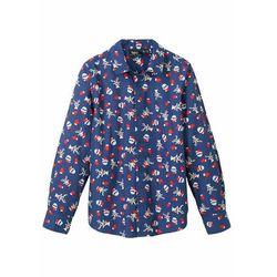 Koszula chłopięca z długim rękawem i bożonarodzeniowym nadrukiem, Slim Fit bonprix kobaltowy z nadrukiem