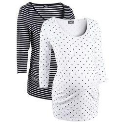 Shirt ciążowy biznesowy (2 szt.), bawełna organiczna bonprix biały w groszki + w paski