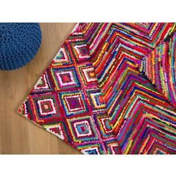 Dywan - kolorowy - poliester - bawełna - shaggy - 140x200 cm - KAISERI