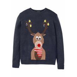 Sweter męski z bożonarodzeniowym motywem bonprix ciemnoniebieski