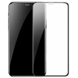 Baseus zestaw 2x szkło na cały ekran Full Screen z ramką 0.3mm 9H iPhone 11 Pro Max / iPhone XS Max + pozycjoner czarny (SGAPIPH65S-KC01)