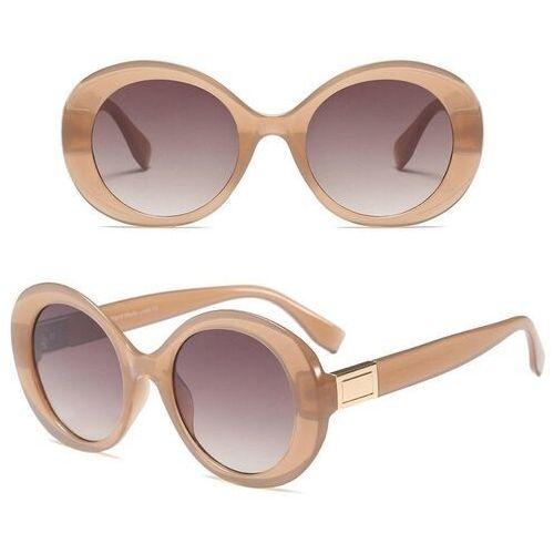 Okulary przeciwsłoneczne, Okulary przeciwsłoneczne damskie beżowe okrągłe