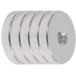 5 szt. - Magnes neodymowy 25x5 mm otwór 7,5/4,5mm pod wkręt
