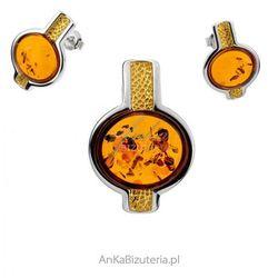 ankabizuteria.pl Komplet biżuterii z koniakowym bursztynem pozłacany
