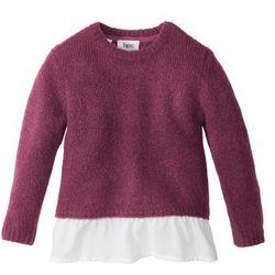 Sweter dzianinowy z falbaną bonprix jeżynowy melanż - biały