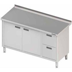 Stół przyścienny z blokiem dwóch szuflad po prawej stronie i szafką z drzwiami skrzydłowymi 1700x700x850 mm | STALGAST, 980337170