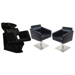 Zestaw Mebli Fryzjerskich - Myjnia Alcamo Z Czarną Misą + 2 x Fotel Siena