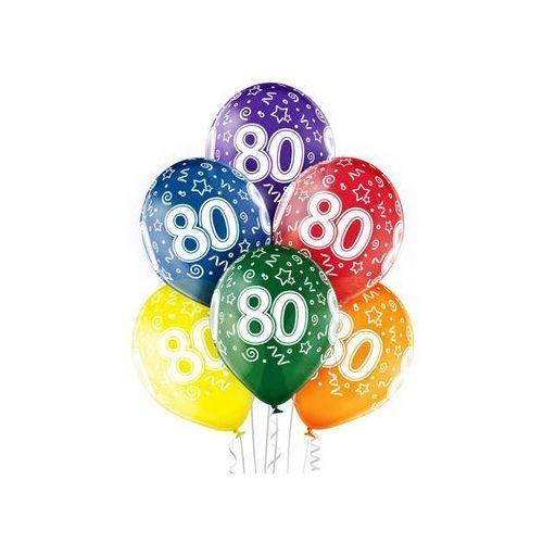 """Pozostałe wyposażenie domu, Balony transparentne z nadrukiem """"80"""" - 12 cali - 6 szt."""