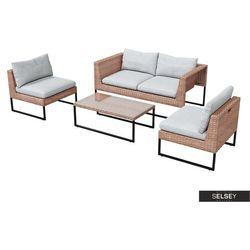 SELSEY Zestaw ogrodowy Darkone sofa z dwoma fotelami i stolik beżowy