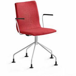 Krzesło konferencyjne OTTAWA, nogi pająka, podłokietniki, czerwona tkanina, biały