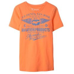 T-shirt z dekoltem w serek Slim Fit bonprix nektarynka z nadrukiem
