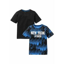 T-shirt (2 szt.) bonprix lodowy niebieski z nadrukiem + czarny