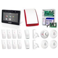 Zestaw alarmowy SATEL Integra 64, Klawiatura dotykowa, 8 czujników ruchu, 2 czujniki ruchu dualne, 2 czujniki zalania, czujnik dymu, czujnik czadu, czujnik gazów usypiających, czujnik gazu ziemnego, sygnalizator zewnętrzny SP-4003, powiadomienie GSM