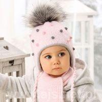 Zestawy dodatków dla dzieci, Komplet AJS 38-405 Czapka+szalik ROZMIAR: uniwersalny, KOLOR: wielokolorowy, AJS