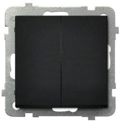 Łącznik podwójny Ospel Sonata ŁP-17R/M/33 zwierny 10AX IP20 czarny metalik