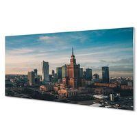 Obrazy, Obrazy na szkle Warszawa Wieżowce panorama wschód słońca