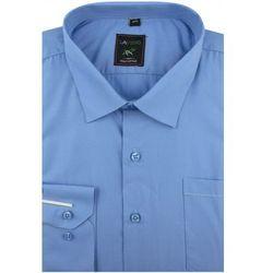 Koszula Męska Laviino gładka niebieska na długi rękaw w kroju REGULAR A176