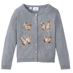 Sweter dziewczęcy rozpinany bawełniany z cekinami bonprix jasnoszary melanż