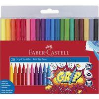 Mazaki i flamastry, Flamastry Grip 20 kolorów w etui FABER CASTELL