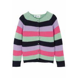 Sweter dziewczęcy rozpinany z bawełny bonprix w kolorowe paski