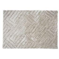 Dywan shaggy MAZE z efektem 3D – poliester – kolor beżowo-szary – 160 × 230 cm