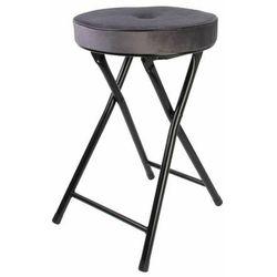 Składany stołek Margot Velvet szary - szary