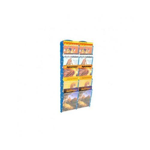Ramy,stojaki i znaki informacyjne, Plastikowy uchwyt ścienny na ulotki - 2x5 A4, niebieski