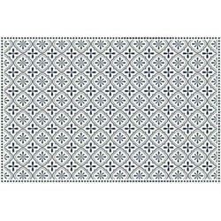 Winylowy dywan TERQUISE z motywem cementowych płytek – 120 × 180 cm – kolor niebieski i biały