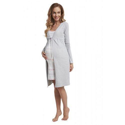 Spódnice ciążowe, Szlafrok bawełniany ciążowy - Szary (Melanż)
