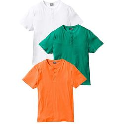 T-shirt (3 szt.) Regular Fit bonprix pomarańczowy + zielony miętowy + biały