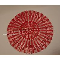 Ozdoby świąteczne, Wycinanka ludowa, kurpiowska, Gwiazda, śred. 34 cm, kolor czerwony (czk-4)