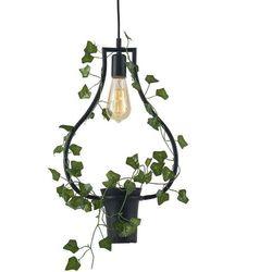Wisząca LAMPA dekoracyjna SOREN C 313874 Polux metalowa OPRAWA ramka ZWIS doniczka czarna