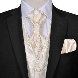 vidaXL Męska kamizelka ślubna ze wzorem z krawatką i chusteczką rozm. 50 Krem Darmowa wysyłka i zwroty