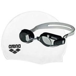 Arena Pool Set - zestaw czepek + okulary pływackie (biało-czarny)