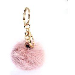 Breloczek - pomponik do torebki lub kluczy blady pudrowy róż - różowy