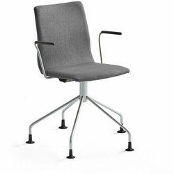 Krzesło konferencyjne OTTAWA, nogi pająka, podłokietniki, szara tkanina, szary