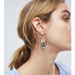 ASOS Oval Hoop Earrings with Recycled Denim Stones - Silver