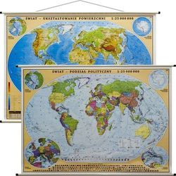 Świat mapa ścienna dwustronna fizyczno-polityczna 1:25 000 000