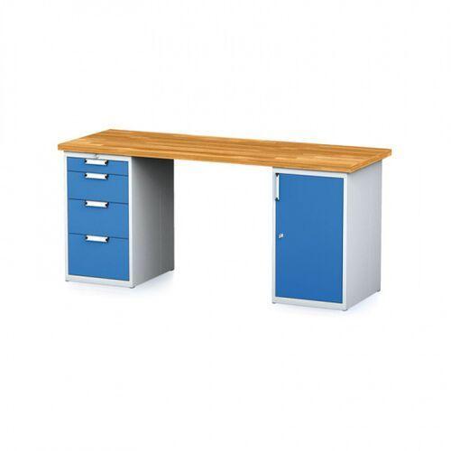 Stoły warsztatowe, Stół warsztatowy MECHANIC, 2000x700x880 mm, 1x 4 szufladowy kontener, 1x szafka, szary/niebieski