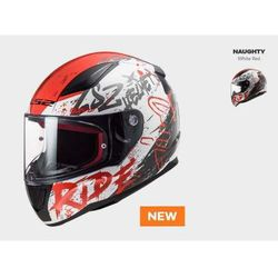 KASK MOTOCYKLOWY KASK LS2 FF353 RAPID NAUGHTY WHITE RED nowość: 2020