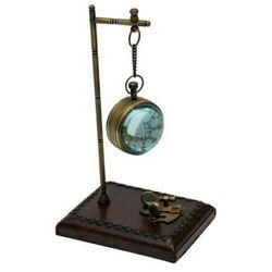 Zegar soczewkowy zawieszony na podstawie metalowo-skórzanej CLK-0186