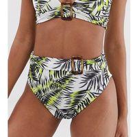 Stroje kąpielowe, PrettyLittleThing high waist bikini bottoms with belt detail in lime palm print - Multi