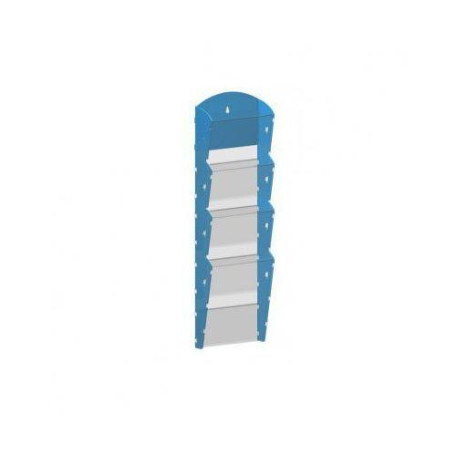 Ramy,stojaki i znaki informacyjne, Plastikowy uchwyt ścienny na ulotki - 1x4 A4, niebieski