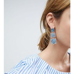 ASOS Metal Drop Earrings with Recycled Denim Stones - Silver