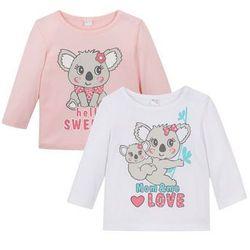 Koszulka niemowlęca z długim rękawem (2 szt.), bawełna organiczna bonprix jasnoróżowy pudrowy - biały